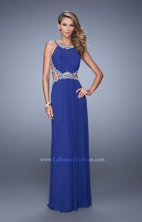 La Femme 21101 Cutout Embroidered Formal Dress Indigo