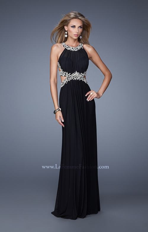 La Femme 21101 Embroidered Halter Prom Gown Black