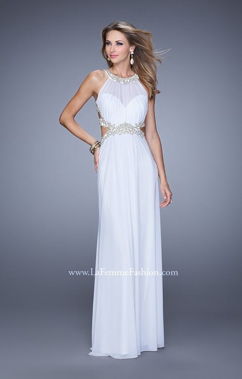 La Femme 21101 White Open Back Prom Dress 2015
