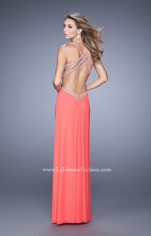 Pink Grapefruit La Femme 21101 Halter Prom Dress