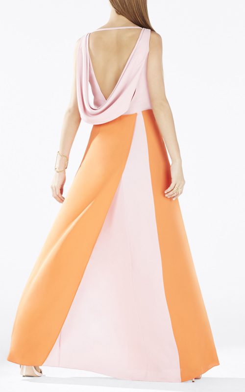 2015 BCBG Scarleta Color Blocked Cowl Back Evening Gown_1