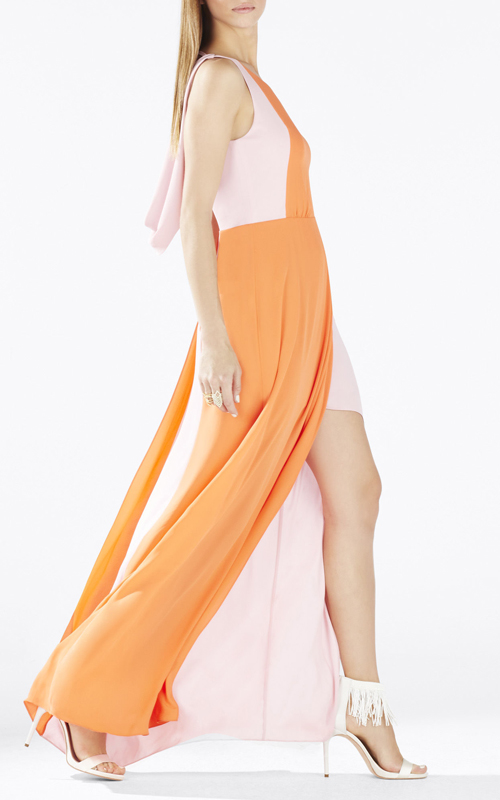 2015 BCBG Scarleta Color Blocked Cowl Back Evening Gown_2