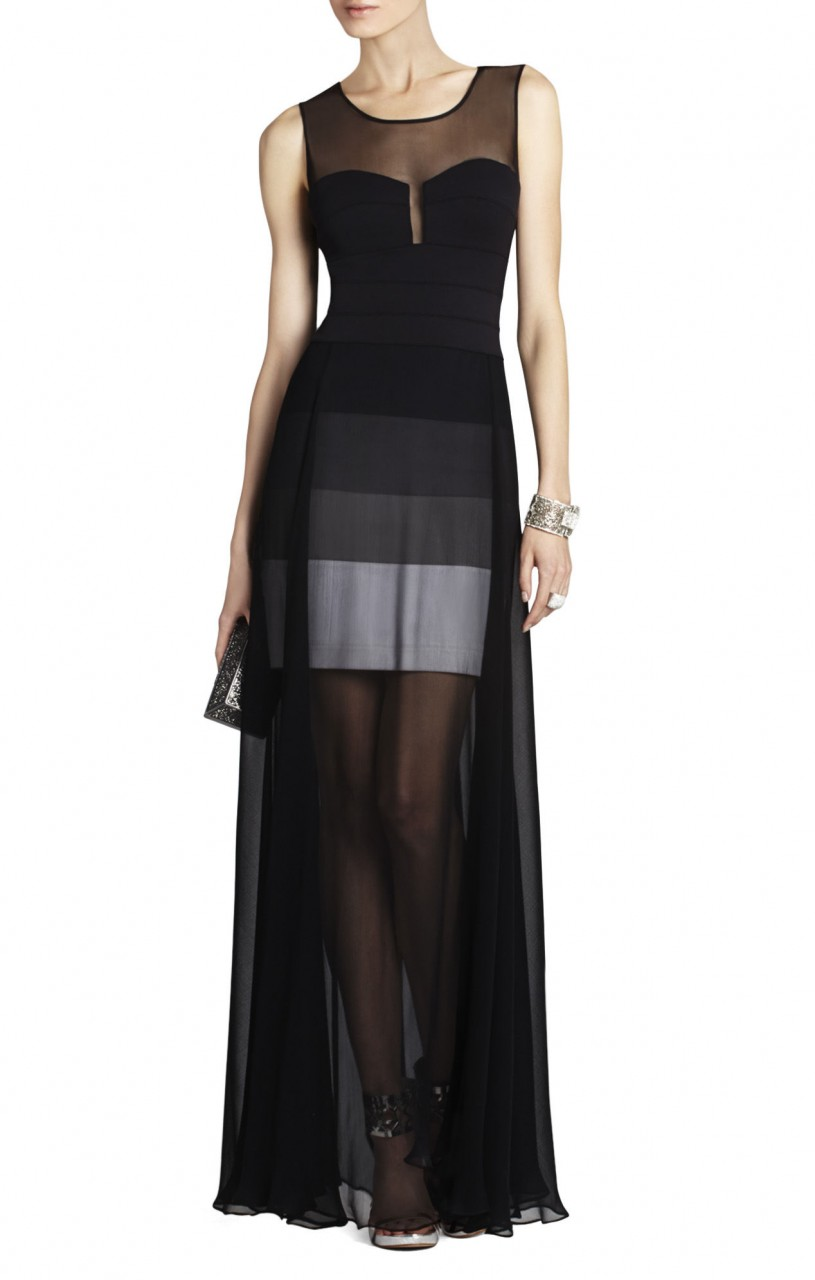 BCBG Alai Banded Knit Chiffon Overlay Black Dress