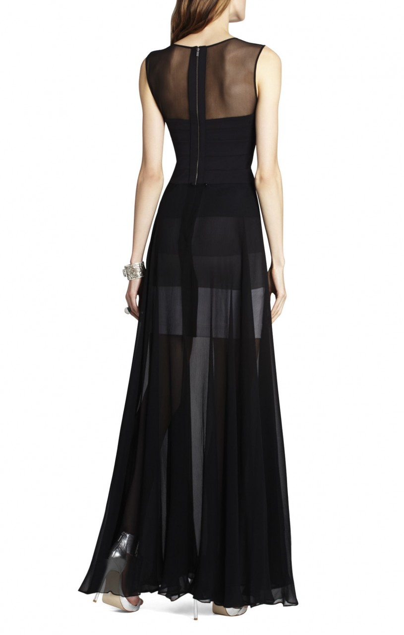 BCBG Alai Banded Knit Chiffon Overlay Black Dress_01