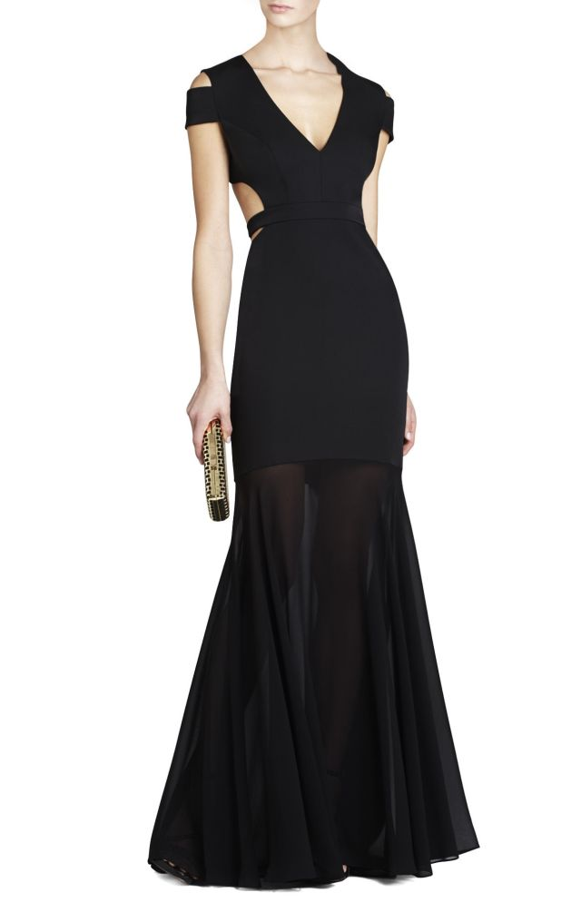 BCBG Black Ava Cutout V Neck Evening Dress
