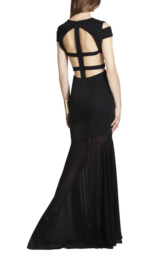 BCBG Black Ava Cutout V Neck Evening Dress_02