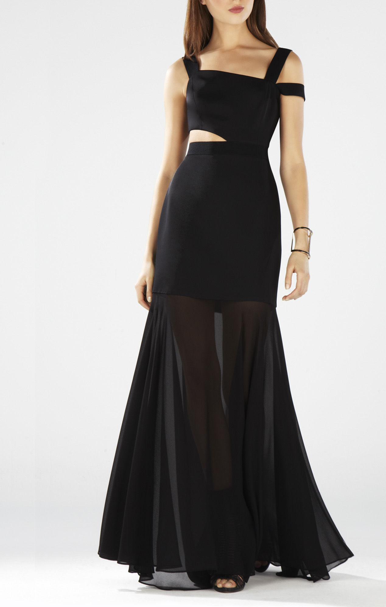 BCBG Black Roxana One Shoulder Cutout Waist Gown
