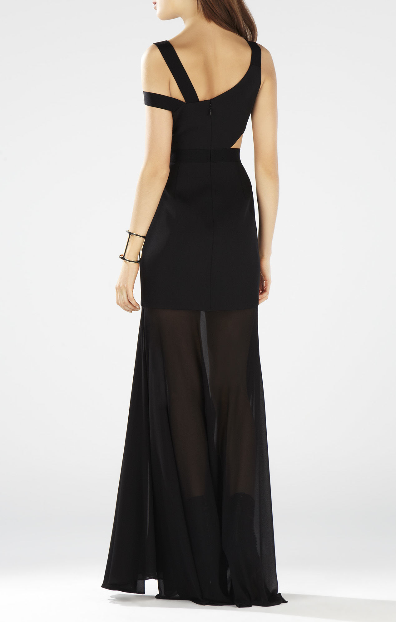 BCBG Black Roxana One Shoulder Cutout Waist Gown_02