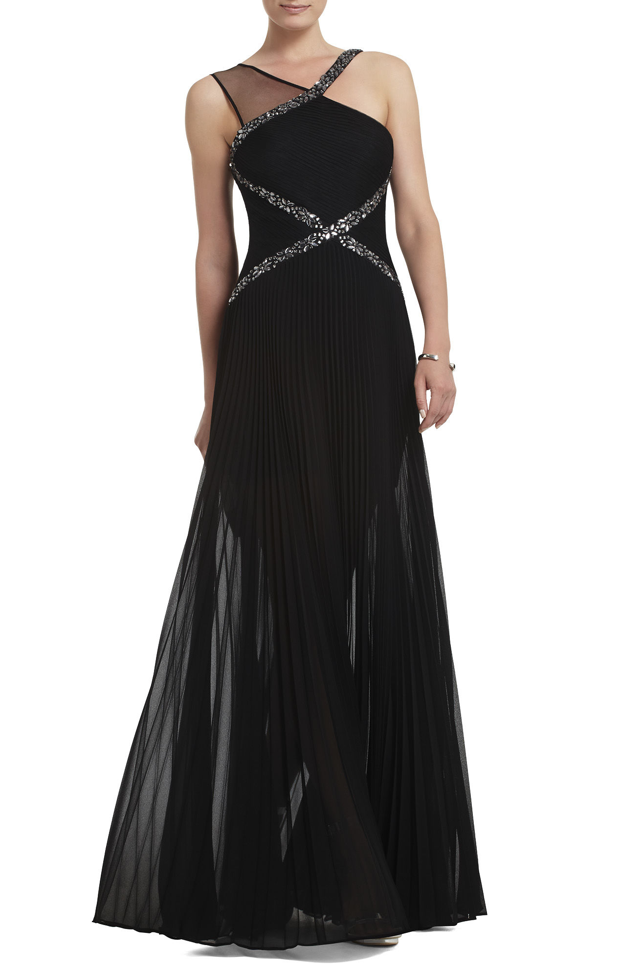 BCBG Carolyne Contrast Knit Evening Gown