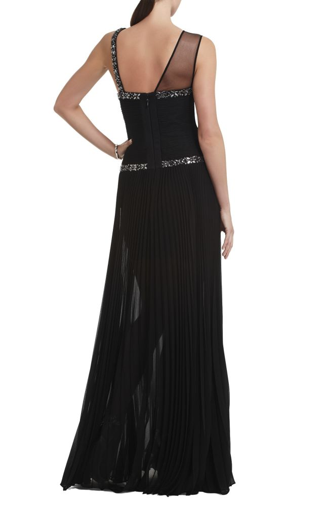BCBG Carolyne Contrast Knit Evening Gown_01