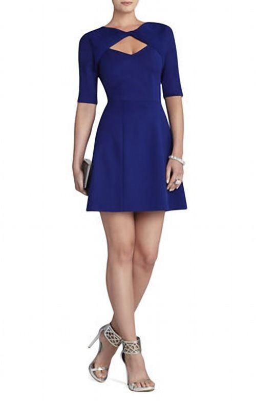 BCBG Cypress Shawl Cap Sleeved Royal Short Party Dress