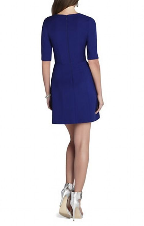 BCBG Cypress Shawl Cap Sleeved Royal Short Party Dress_1