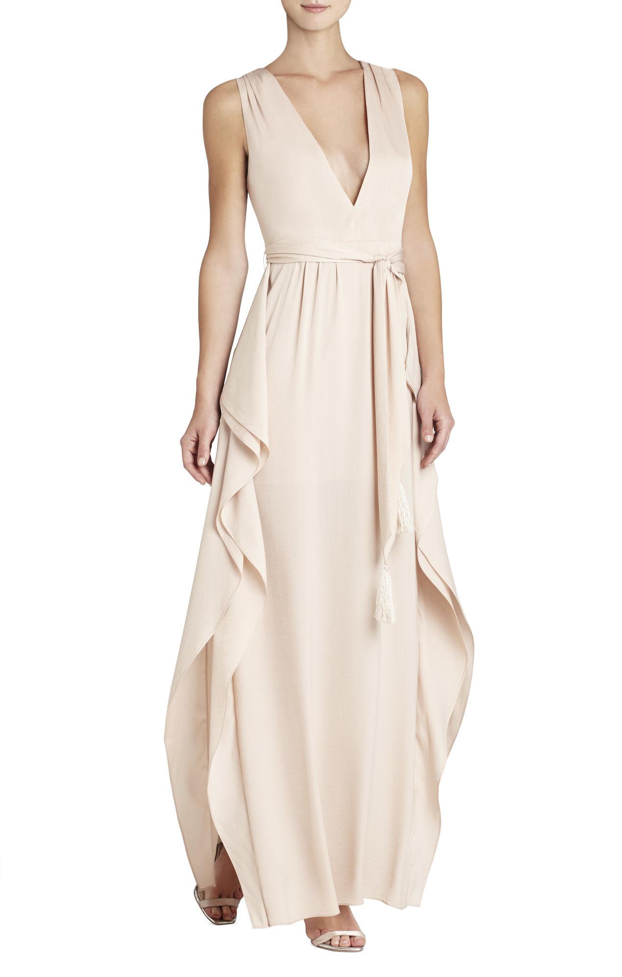 BCBG Khaki Suzanne V Neck Tie Waist Gown