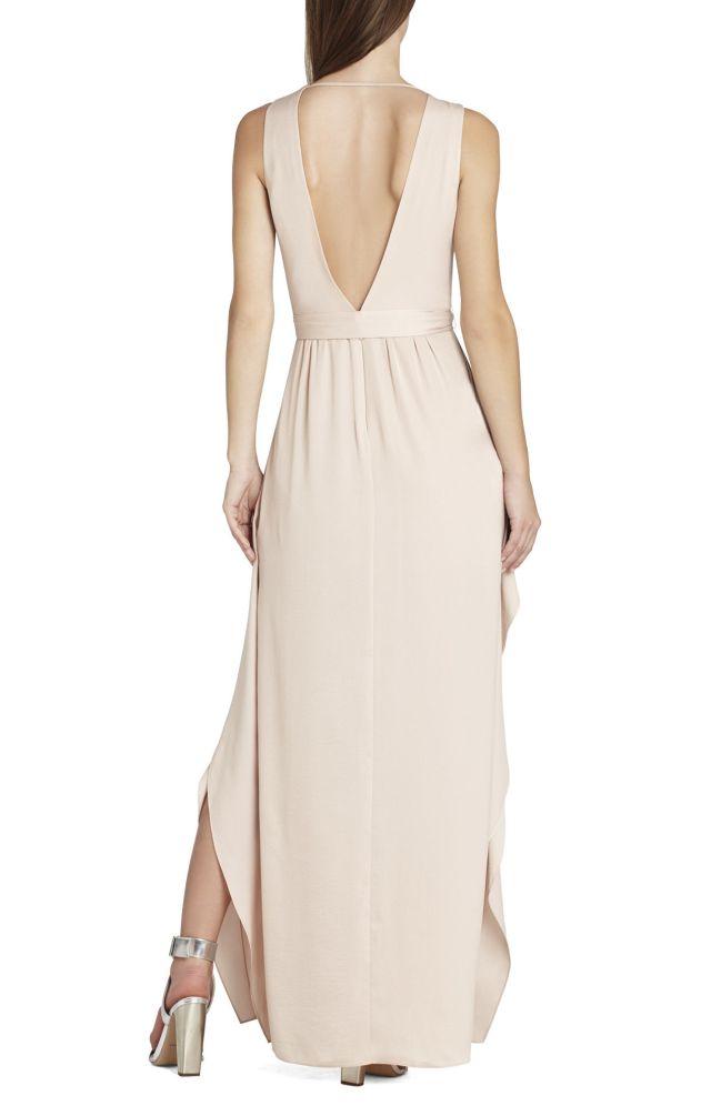 BCBG Khaki Suzanne V Neck Tie Waist Gown_01