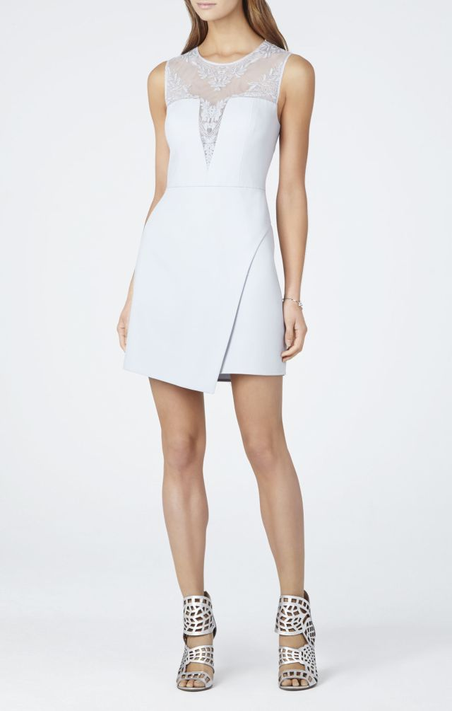 BCBG Kinsley Crossed-back Round Neck Asymmetrical Dress