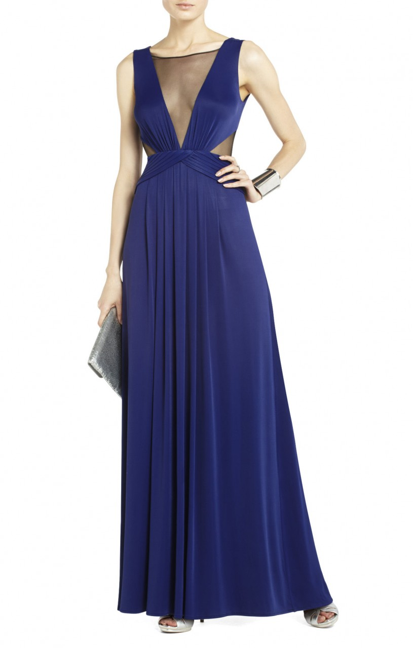 Bcbg Magdalena Draped Jersey Blue Evening Gown