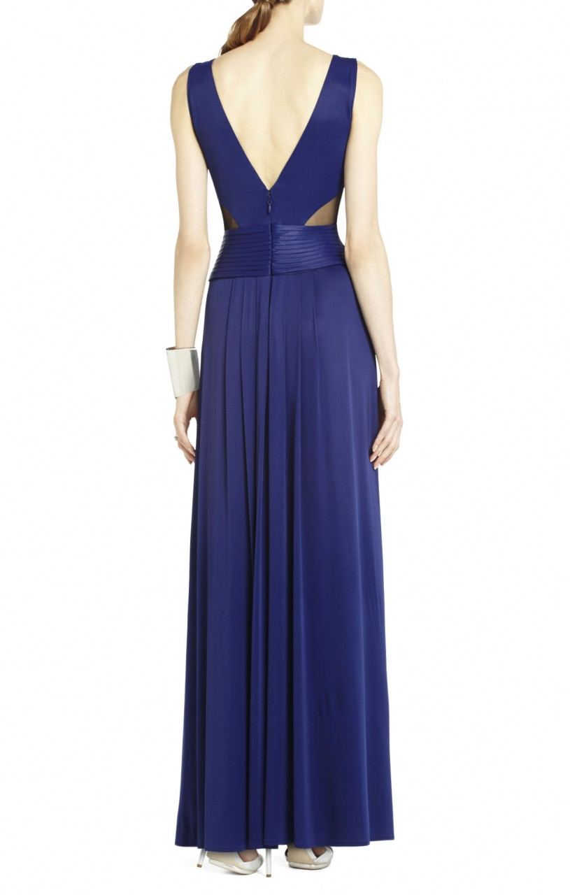 Bcbg Magdalena Draped Jersey Blue Evening Gown_01