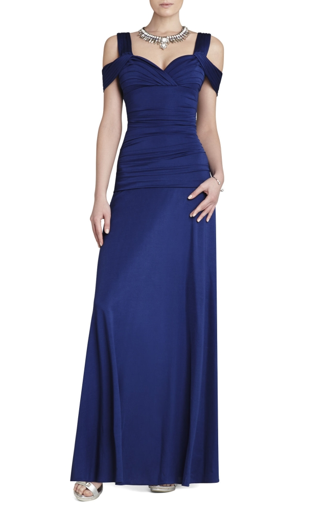 BCBG MAX AZRIA Nathalie Ruched-Bodice Knit Dress Gown Blue