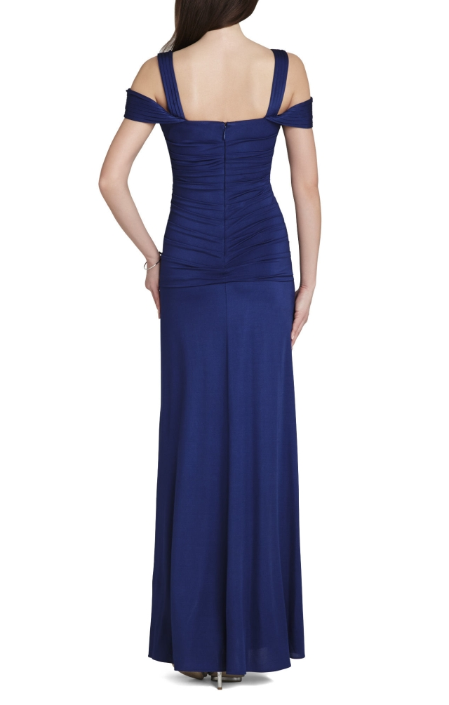 BCBG MAX AZRIA Nathalie Ruched-Bodice Knit Dress Gown Blue_1