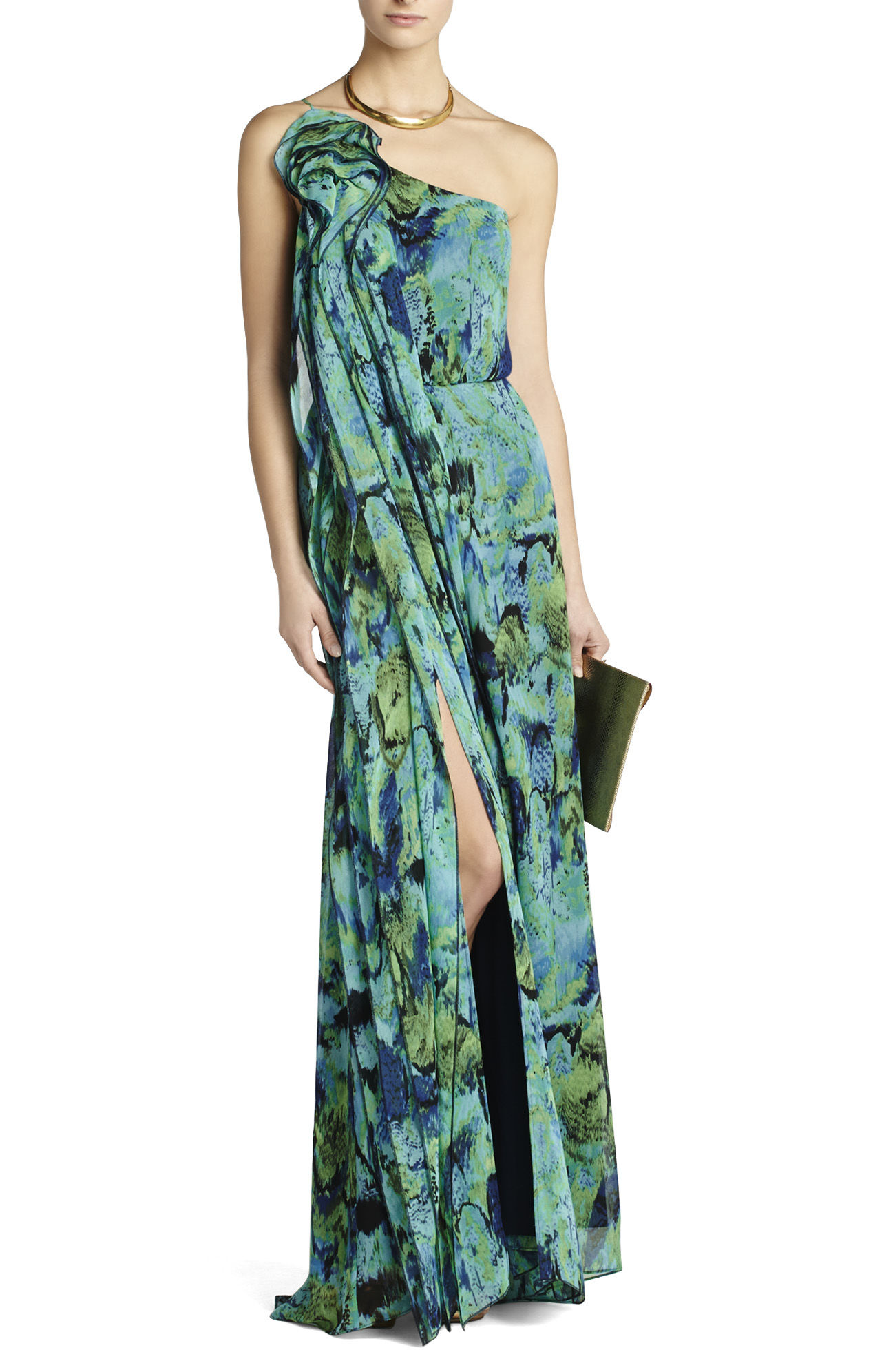 BCBG MaxAzria Nalda One-Shoulder Long Ruffle Dress