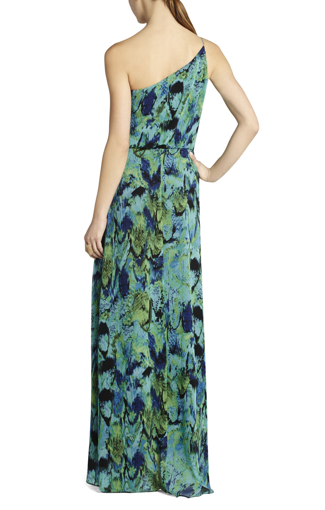 BCBG MaxAzria Nalda One-Shoulder Long Ruffle Dress_01