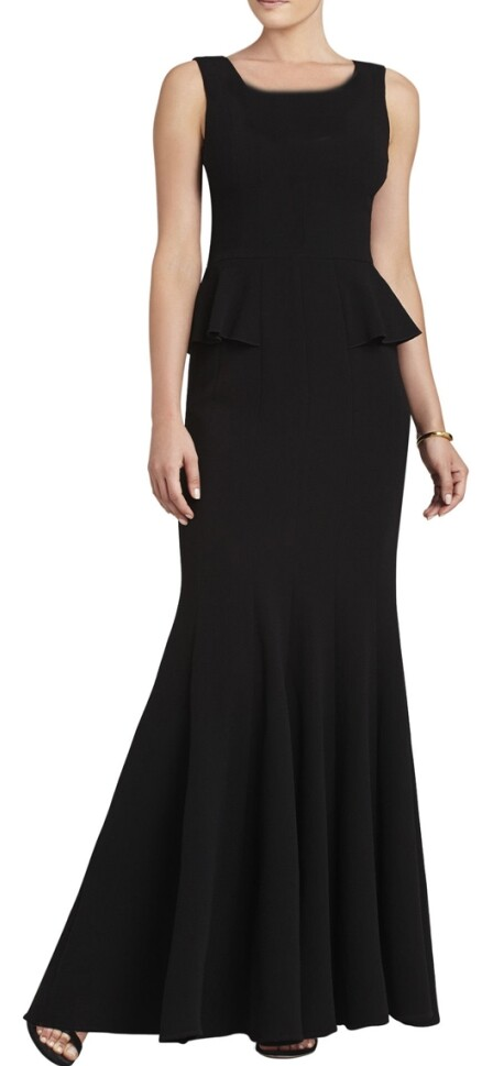 BCBG Peplum Silvia Sleeveless Black Long Dress