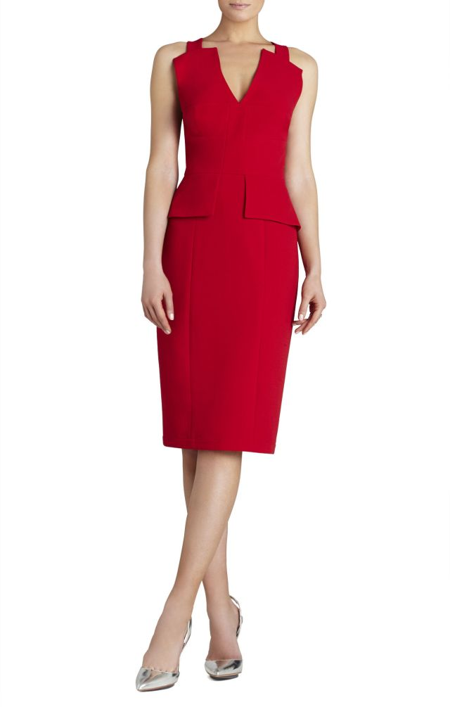 BCBG Red Alena Knee Length Peplum Evening Dress