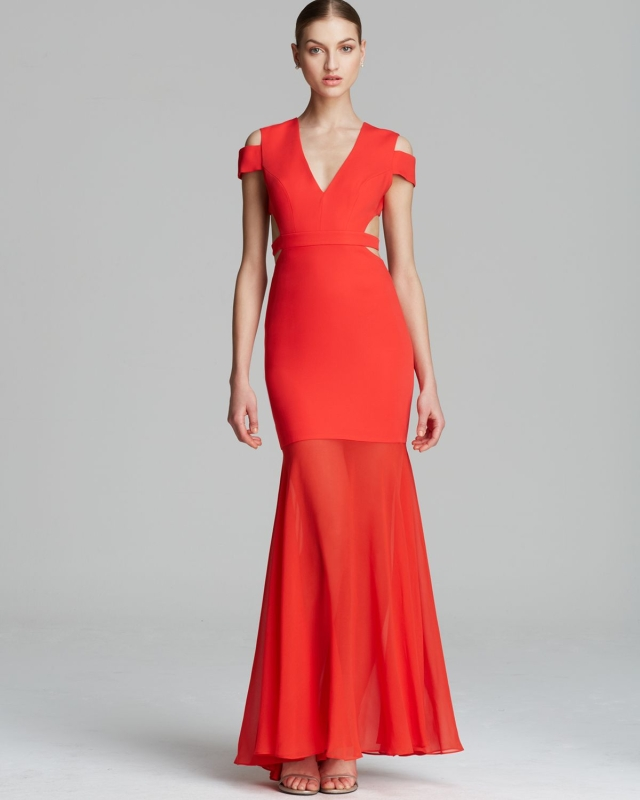 BCBG Red Ava Cutout V Neck Evening Gown