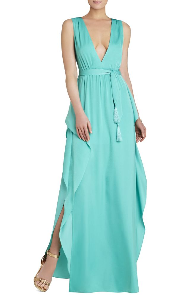 BCBG Suzanne Sleeveless Tie Waist Evening Dress
