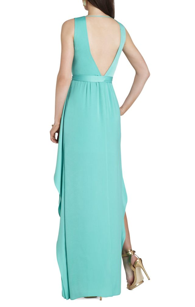 BCBG Suzanne Sleeveless Tie Waist Evening Dress_01