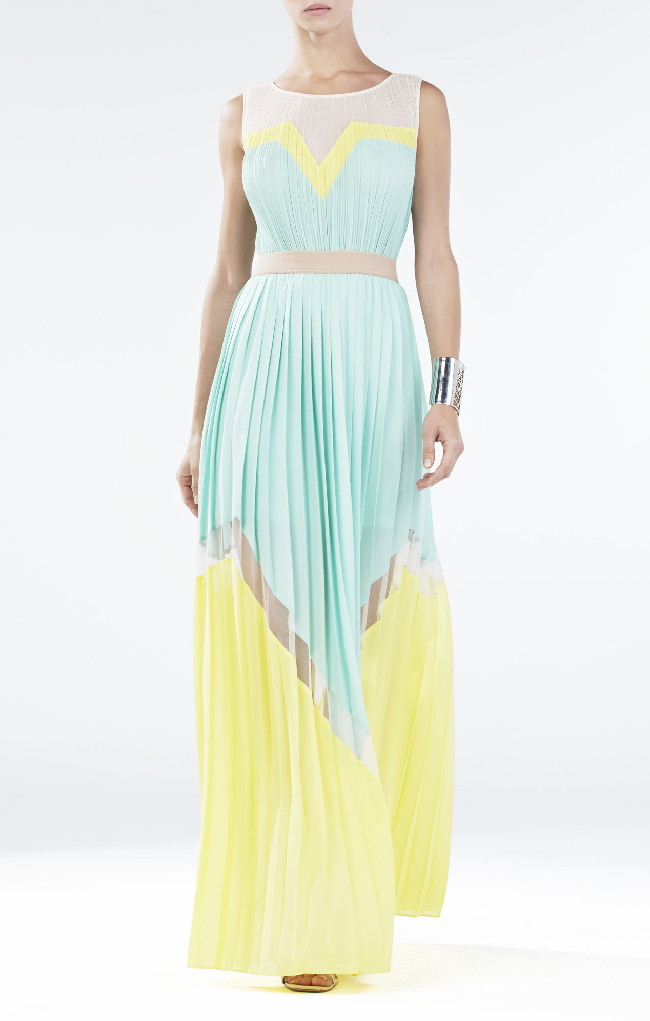 BCBGMaxAzria Kathrine Pleated Color-Blocked Long Dress
