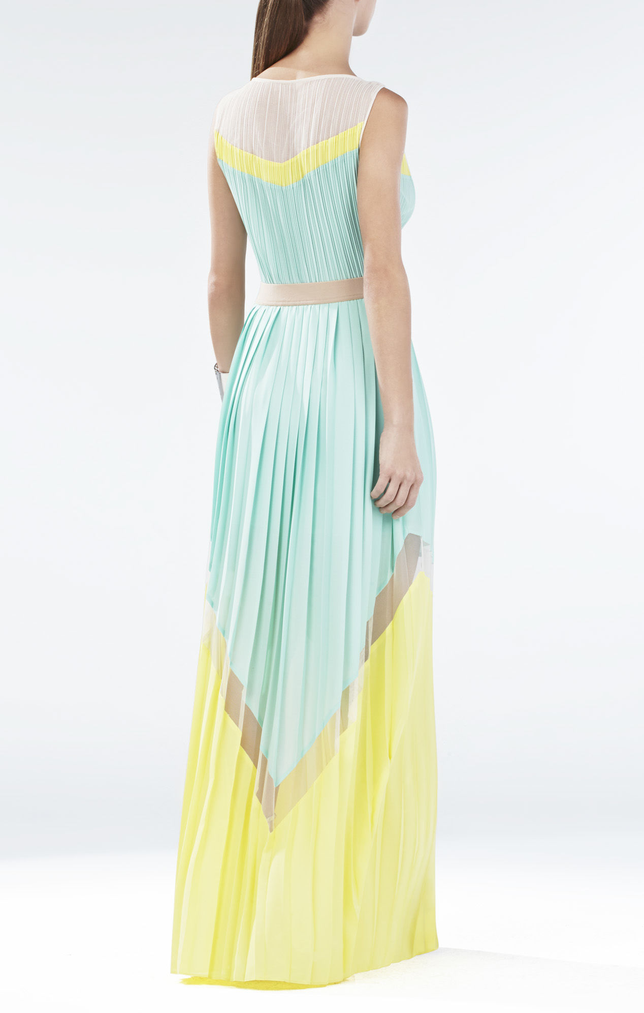 BCBGMaxAzria Kathrine Pleated Color-Blocked Long Dress_01