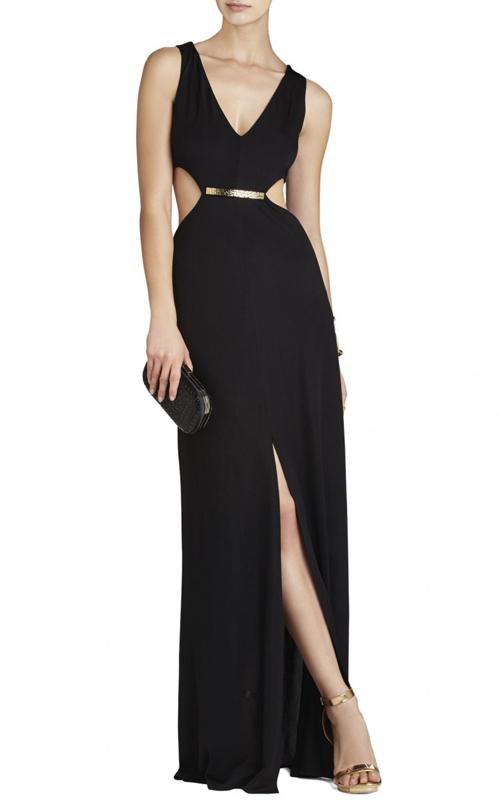 Black Valentina Cutout BCBG Sexy Evening Dress