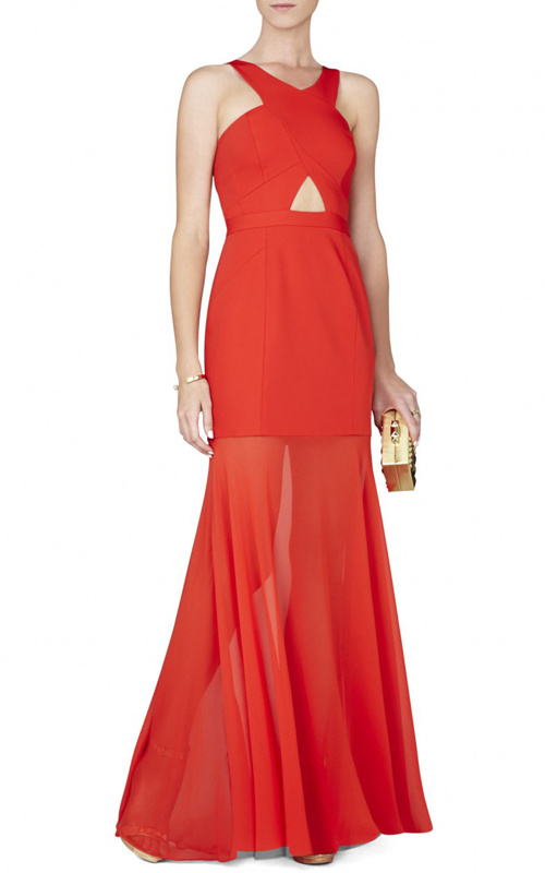 Crisscross Ria BCBGMAXAZRIA Sexy Evening Gown Red