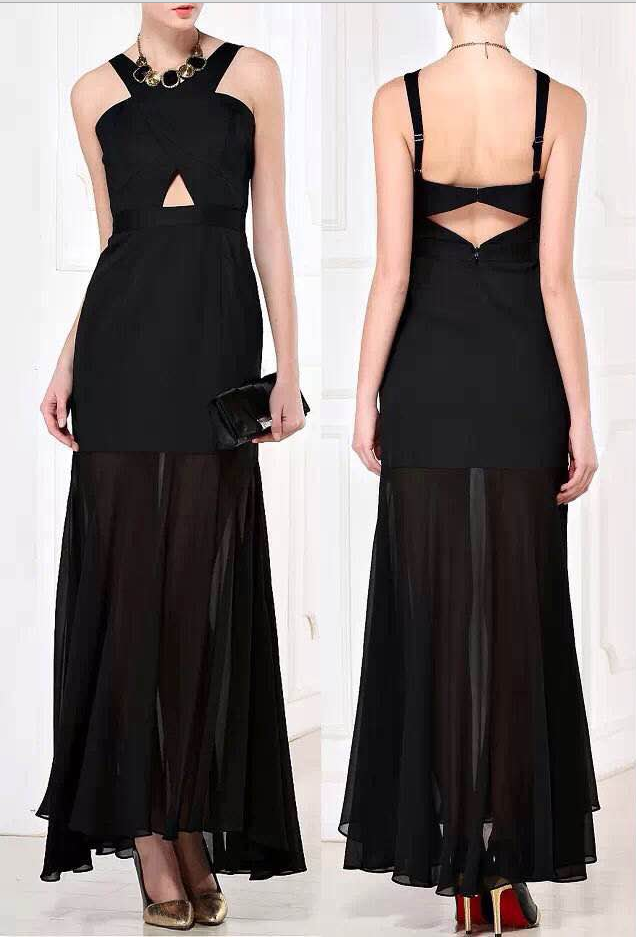 Cutout Crisscross Black BCBG Evening Gown Sexy