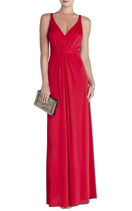 Hali V Neck Full Length Red BCBG Evening Gown
