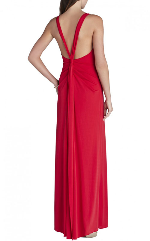 Hali V Neck Full Length Red BCBG Evening Gown_1