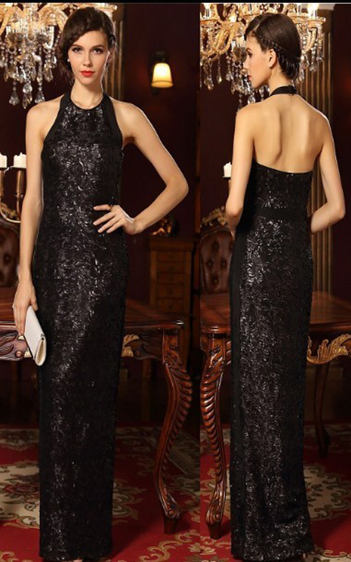 Halter Cultivate Sequins Black BCBG Evening Gown