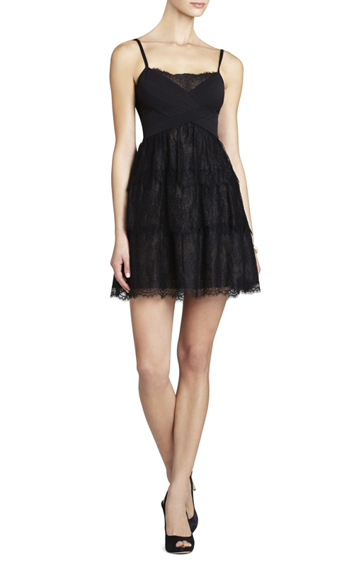 Josanna Short Lace BCBG Cocktail Dress Black