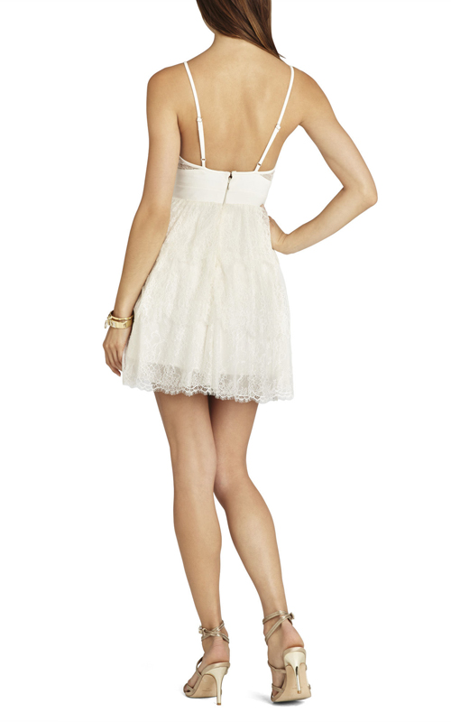 Lace Josanna BCBG White Short Sexy Dress_01