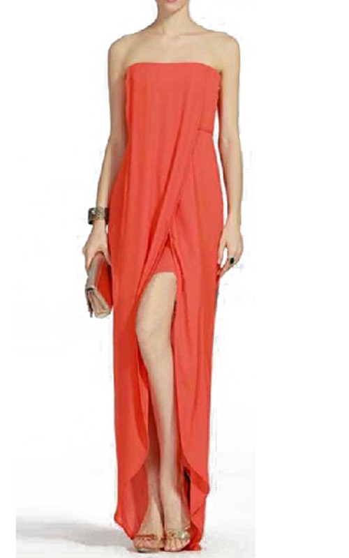 Orange BcbgMaxAzria Jesse Draped Strapless Gown
