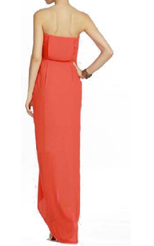 Orange BcbgMaxAzria Jesse Draped Strapless Gown_01
