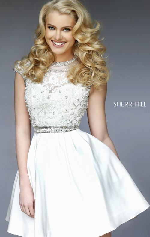 2015 beads homecoming dress white Sherri Hill 32317