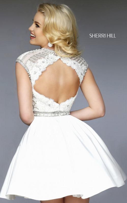 2015 beads homecoming dress white Sherri Hill 32317_1
