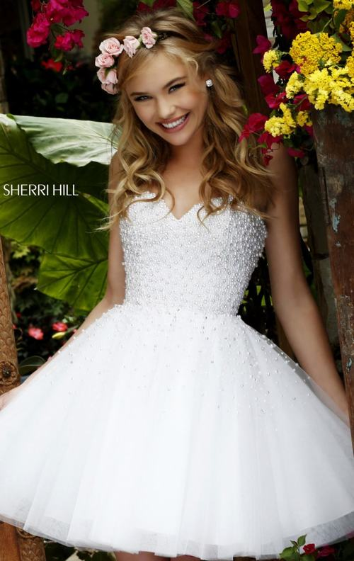 2015 Sherri Hill 11312 beads white homecoming dress