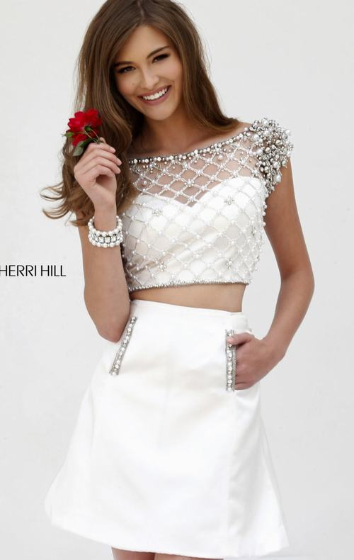 Evermiss Beauty Sexy White Sherri Hill Homecoming Dresses 2015