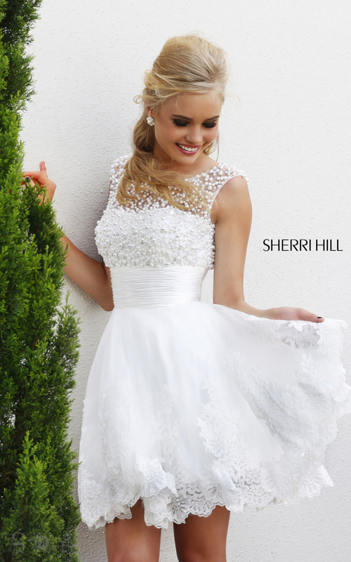 2015 Sherri Hill 4302 a line homecoming dress white