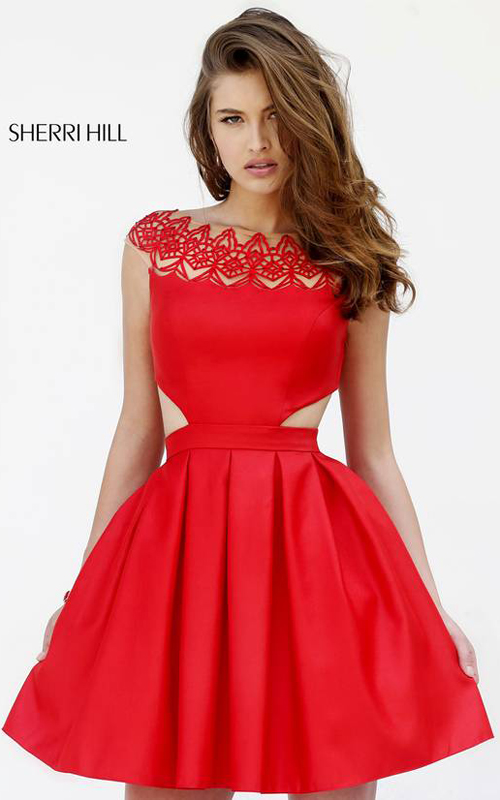 2015 Sherri Hill 9756 a line homecoming dress short red
