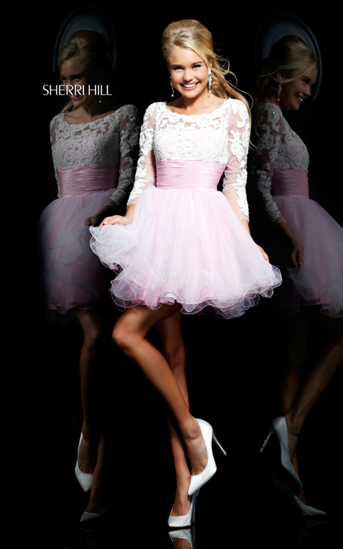 a line Sherri Hill 21234 pink white homecoming dress cute