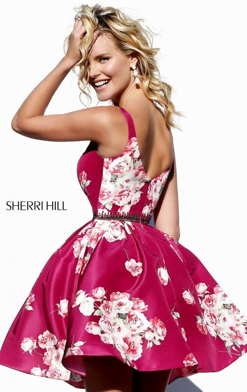 a line Sherri Hill 32321 floral homecoming dress 2015 plum_1